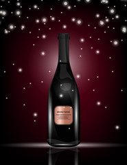 Red Wine Bottle on the Sparkling Background for Your Design.