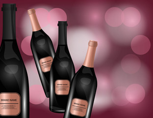 Red Wine Bottles on the Sparkling Background for Your Design