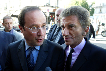 French Socialist Party leaders Hollande and Lang arrive to attend Socialist Party National council ...