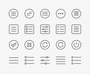 Navigation Menu Line Icons. Editable Stroke. 48x48 Pixel Perfect.