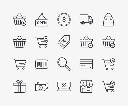 Set of Shopping Basket Vector Line Icons. Editable Stroke. 48x48 Pixel Perfect.