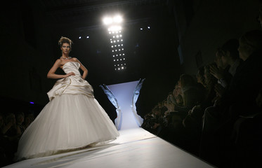 A model displays a creation by Italian fashion house Gattinoni during a Rome Fashion Week Haute Couture Spring/Summer 2009 show