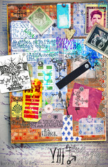 Collage with sketches,draws,scripts and scraps