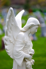 Carved Angel Marble Headstone