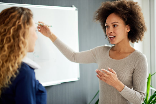 Young woman discussing in front of whiteboard