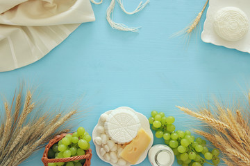 Aluminium Prints Dairy products dairy products and fruits. Symbols of jewish holiday - Shavuot