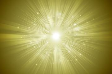 Gold glitter sparkles rays lights bokeh Festive Elegant abstract background.