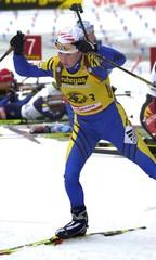 WINNER MAGDALENA FORSBERG OF SWEDEN LEAVES THE SHOOTING RANGE DURING THE WOMENS 12.5KM BIATHLON ...