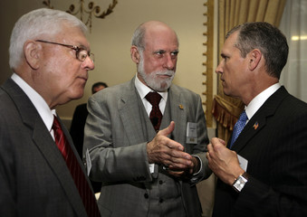 Google Vice President and Chief Internet Evangelist Vinton Cerf attends discussion in Washington