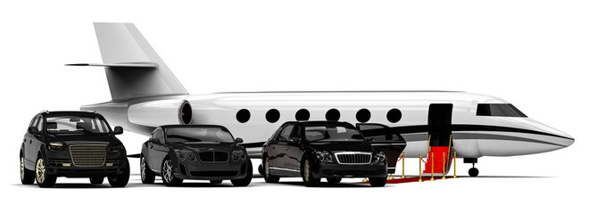 Rich People Rides / 3D render image representing a rich people transportation vehicles