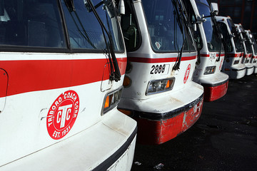 Buses fill parking lot of Triboro Coach Corp in New York