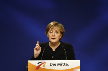 German Chancellor Merkel gives the opening speech the CDU party congress in Hanover