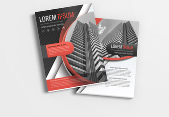 Brochure Layout with Gray  and Red Accents 1