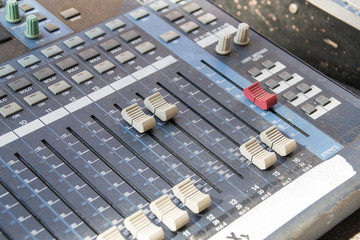 Detail dj mixer console.