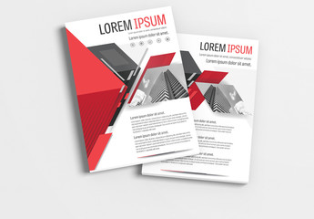 Brochure Layout with Gray  and Red Accents 2