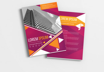 Brochure Layout with Magenta and Orange Accents 1