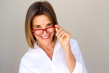 Close up smiling businesswoman with glasses
