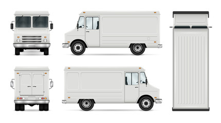 Food Truck Vector Template For Car Branding And Advertising. Isolated Delivery Van On White. All layers and groups well organized for easy editing and recolor. View from side; front; back; top.
