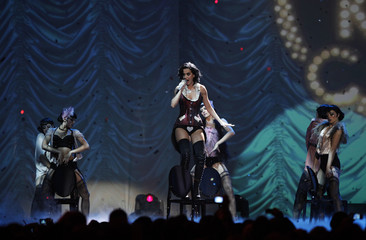 Singer and show host Katy Perry performs during the MTV Europe Awards ceremony in Berlin