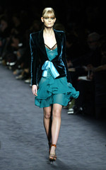 d60e2112d04ab A model presents this creation by American designer Tom Ford for ...