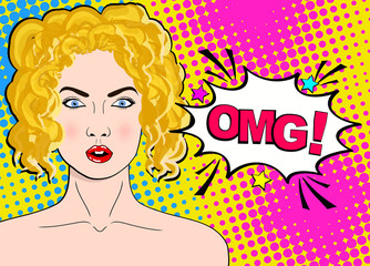 Sexy surprised blonde pop art woman with wide open eyes and mouth and words OMG. Vector background in comic retro pop art style.