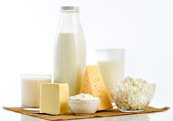 Dairy products over white background.