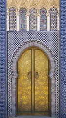 Africa, Morocco, Fes. Detail of the King's Palace ornate doors.