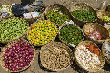 Vegetables for sale on the market of Wangdue Phodrang, Bhutan