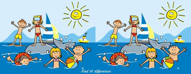 Children on the beach, water sports. Boys and girls playing in the sea. Funny vector illustration. Game for children - find ten differences.