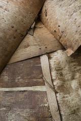 Usa, Maine, Acadia National Park. Detail of wigwam structure on the grounds of the Abbe Museum