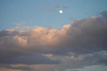 Moon Clouds And Sunset