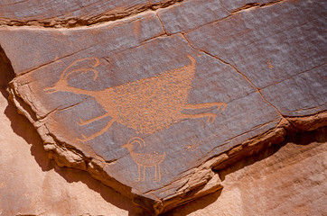 Petroglyphs at Sun's Eye, Monument Valley Navajo Tribal Park, Monument Valley, Utah, USA.