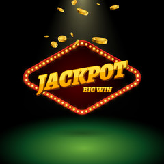 Jackpot gambling banner sign decoration. Vector big win billboard for casino. Winner sign lucky symbol template with coins money