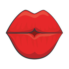 sensual red lips icon over white background. vector illustration