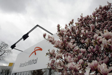 An Arcelor logo is seen behind flowers at an ArcelorMittal factory near Liege
