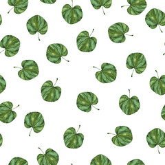 Seamless pattern with green leaves painted by watercolor. Hand drawn illustration.
