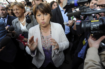 French Socialist Party first secretary Martine Aubry arrives to attend the party's national council meeting in Paris