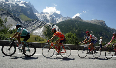 TOUR DE FRANCE RIDERS IN THE FRENCH ALPS DURING THE NINTH STAGE OFTHE RACE.