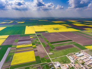 Crop fields aerial view from a drone