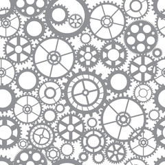 Seamless pattern silhouette cut gears mechanical machine parts clock gearwheel. Design for scrapbooking, business cards, background for craft
