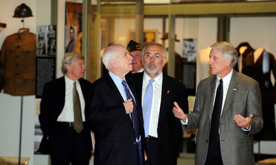 US Republican presidential candidate Senator John McCain tours the National WWI Museum in Kansas City