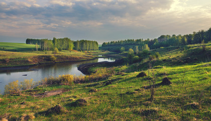 Sunny summer landscape with river