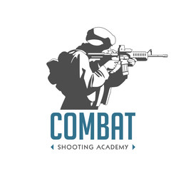 Logo - soldier with automatic rifle - combat shooting exercises concept