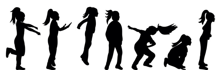 silhouette of children, children silhouette play and dance