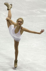 MARIA BUTYRSKAYA OF RUSSIA SKATES FOR SILVER IN EUROPEAN FIGURE SKATING CHAMPIONSHIPS.