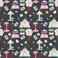 Seamless pattern with watercolor elements of amusement park and candies, hand drawn isolated on a dark background