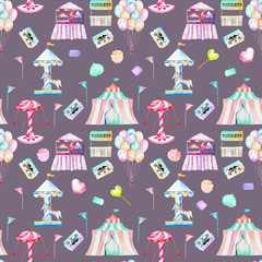Seamless pattern with watercolor elements of amusement park and candies, hand drawn isolated on a purple background