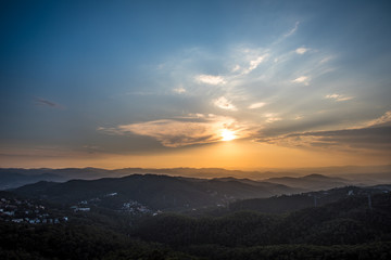 Barcelona Sunset from Mountain Tibidado