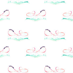Seamless pattern with watercolor roller coaster from the amusement park, hand drawn isolated on a white background