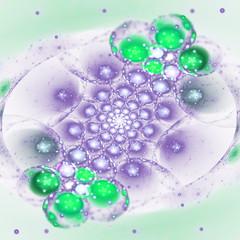 Colorful fractal sparkling bubbles, digital artwork for creative graphic design